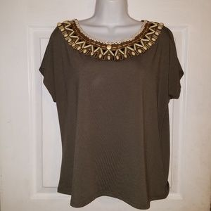 RUBY RD Womens Olive Green Short Sleeve Blouse Top